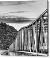 The South Llano River Bridge Black And White Canvas Print