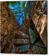 The Spiral Staircase Of The Abbandoned Children Summer Vacation Building - La Scala A Chiocciola Del Canvas Print