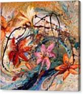 The Splash Of Life 17. Humming-bird And Exotic Flowers Canvas Print