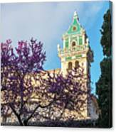 The Steeple Of The Valldemossa Charterhouse In Spring Canvas Print