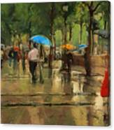 The Streets Of Paris In The Rain Canvas Print