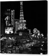 The Strip By Night B-w Canvas Print