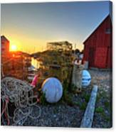 The Sun Rising By Motif 1 In Rockport Ma Bearskin Neck Lobster Traps Canvas Print
