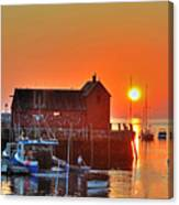 The Sun Rising By Motif Number 1 In Rockport Ma Bearskin Neck Canvas Print