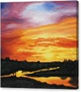 The Sun's Last Kiss On The Hill Country Canvas Print