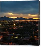 The Sunset From Popago Park Phoenix Arizona Az Golden Canvas Print
