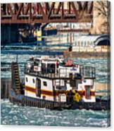The Tanner On The Icy River Canvas Print