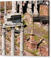 The Temple Of Castor And Pollux At The Forum From The Palatine Canvas Print