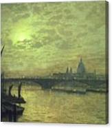 The Thames By Moonlight With Southwark Bridge Canvas Print
