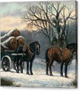 The Timber Wagon In Winter Canvas Print