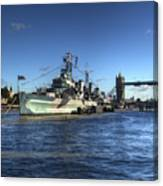 The Tower Hms Belfast And Tower Bridge Canvas Print