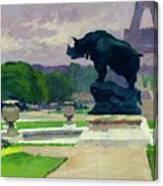 The Trocadero Gardens And The Rhinoceros Canvas Print