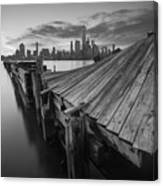 The Twisted Pier Bw Canvas Print