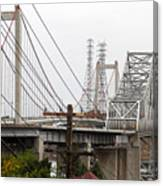 The Two Carquinez Bridges At Crockett And Vallejo California . Aka Alfred Zampa Memorial Bridge . 7d8919 Canvas Print