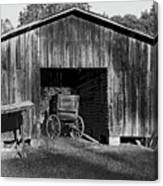 The Undertaker's Wagon Black And White 2 Canvas Print