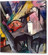 The Unfortunate Land Of Tyrol Franz Marc Painting Of Horses In A Valley Near A Cemetery  Canvas Print