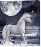The Unicorn Under The Moon Canvas Print