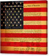 The United States Declaration Of Independence - American Flag - Square Canvas Print