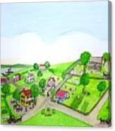 The Village - Colonial Style Art Canvas Print