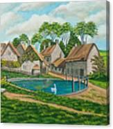 The Village Pond In Wroxton Canvas Print
