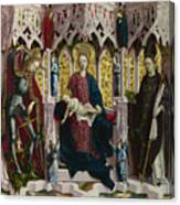 The Virgin And Child Enthroned With Angels And Saints Canvas Print