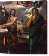 The Virgin Appearing To Saints John The Baptist And John The Evangelist 1520 Canvas Print
