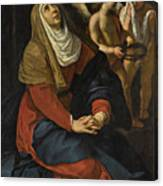 The Virgin In Prayer At The Foot Of The Cross, With Crying Angels Canvas Print