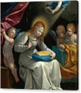 The Virgin Sewing Accompanied By Four Angels. La Couseuse Canvas Print