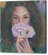 The Vision Romantic Figurative Floral Pastel Painting Canvas Print