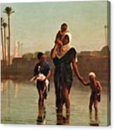 The Way From The Village. Time Of Inundation. Egypt Canvas Print