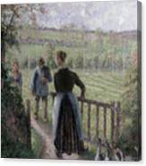 The Woman With The Geese Canvas Print