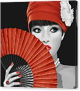 Woman With Paper Fan Canvas Print