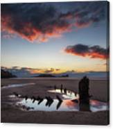 The Wreck Of The Helvetia And Worms Head Canvas Print