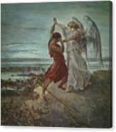 The Wrestle Of Jacob 1855 Canvas Print