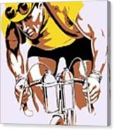 The Yellow Jersey Retro Style Cycling Canvas Print