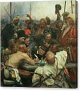 The Zaporozhye Cossacks Writing A Letter To The Turkish Sultan Canvas Print