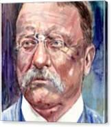 Theodore Roosevelt Watercolor Portrait Canvas Print