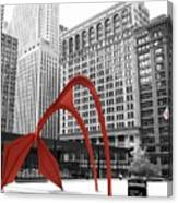 There's A Red Flamingo In Chicago Canvas Print