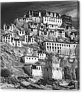 Thiksey Monastery - Paint Bw Canvas Print