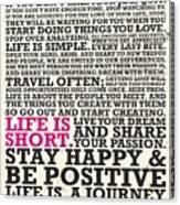 This Is Your Life Do What You Love Inspirational Quotes Poster Canvas Print