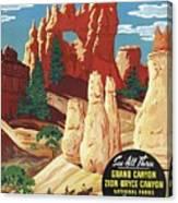 This Summer - Visit Bryce Canyon National Par, Utah, Usa - Retro Travel Poster - Vintage Poster Canvas Print