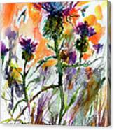 Thistles And Bees Watercolor And Ink Canvas Print