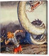 Thor Went Forth Against Jormungand Canvas Print