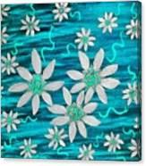 Three And Twenty Flowers On Blue Canvas Print