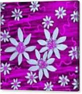 Three And Twenty Flowers On Pink Canvas Print