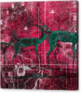 Three Antelope On Red Canvas Print