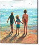 Three Beach Children Siblings  Canvas Print
