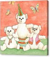 Three Bears Ready For The Party Canvas Print