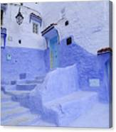 Three Blue Doors In Chefchaouen  Canvas Print