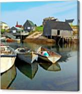 Three Boats At Peggys Cove Canvas Print